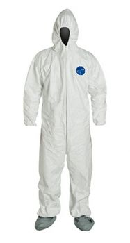 DuPont™ Tyvek TY122S White Coveralls - Vend Pack - Attached Hood Boots and Elastic Wrists Serged Seams (Case of 25)