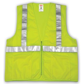 Tingley Class 2 Vest Fluorescent Yellow-Green Polyester Mesh Zipper Closure 4 Interior Pockets Silver Reflective Tape