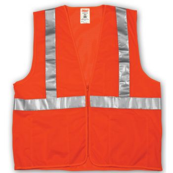 Tingley Class 2 Vest Fluorescent Orange-Red Polyester Mesh Zipper | V70639