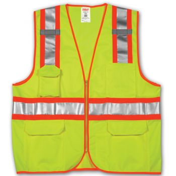 Tingley Class 2 Surveyor Style Vest Fluorescent Yellow-Green Polyester Solid Front, Mesh Back Zipper | V73852
