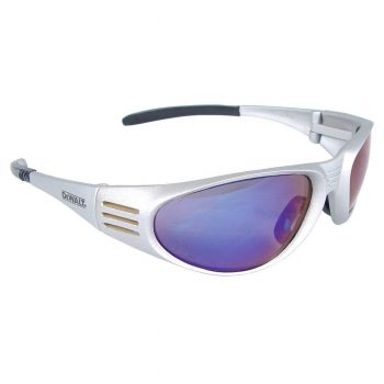 DEWALT Ventilator Blue Mirror Lens - Silver Frame Safety Glasses Full Frame Style Silver Color - 12 Pairs / Box