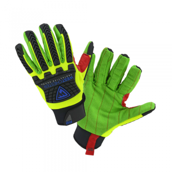 PIP West Chester 87800 R2 Safety Rigger Hi-Vis Yellow Corded Palm Glove, 1 Pair