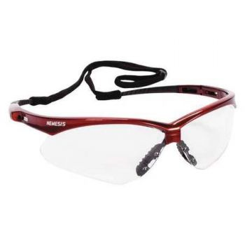 JACKSON SAFETY 47378 V30 Nemesis Safety Glasses, Clear Anti-Fog Lenses with Inferno/Red Frame 12/Pairs