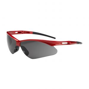 PIP Anser Semi-Rimless Safety Glasses Red Frame, Gray Lens Anti-Scratch Coating (144 Pairs)