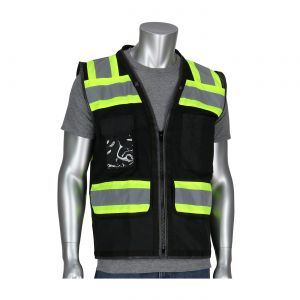 PIP ANSI Type O Class 1 Black Two Tone Eleven Pocket Tech Ready Mesh Surveyors Vest Black  1 EA