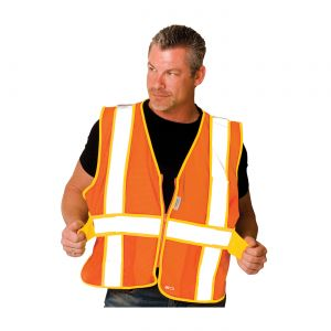 PIP Polyester ANSI Type R Class 2 Expandable Two Tone Mesh Safety Vest Zipper closure One Size  50 / Box