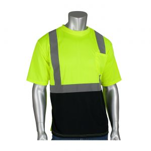 PIP ANSI Type R Class 2 Short Sleeve T Shirt  50+ UPF Sun Protection and Black Bottom Front