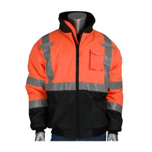 PIP 333-1740-OR Bomber Jacket with Quilted Liner, Class 3, Hi-Vis Orange, 1 Each