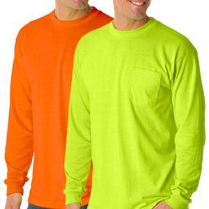 Safety Long Sleeve T-Shirt with Pocket - 50/50 Poly-Cotton Blend
