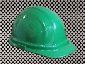 Plastic Hard Cap with Ratchet Headband - Green