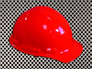 Plastic Hard Cap with Ratchet Headband - Red