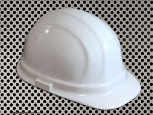 Plastic Hard Cap with Ratchet Headband - White