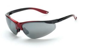 Radians Crossfire Brigade Safety Glasses One Size Silver Mirror Lens Black/Red Frame - 12 / Box