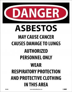 NMC D1095 Danger Asbestos May Cause Cancer Label 200/PK