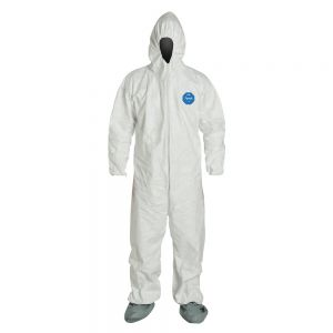DuPont Tyvek TY122S Coveralls, Attached Hood & Boots with Elastic Wrists