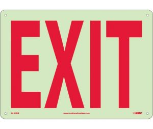 NMC GL12RB 6 Hour Glow Rigid Plastic Exit Sign 10x14