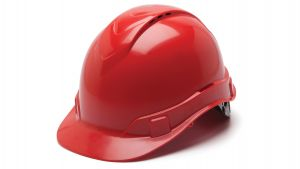 Pyramex Ridgeline Cap Style Hard Hat 4-Point Standard Ratchet Vented Red Color - 16 per Case