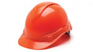 Pyramex Ridgeline Cap Style Hard Hat 4 Point Standard Ratchet Vented Orange  16 per Case