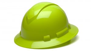 Pyramex HP54131 Ridgeline Full Brim Hard Hat One Size ANSI Z89.1 standards, Type 1 - Class C, G, and E ABS  Lime Color - 12 / CS