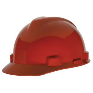 MSA Hard Hat V-Gard Slotted Cap, Red, Fas-Trac III Suspension (1 EA)
