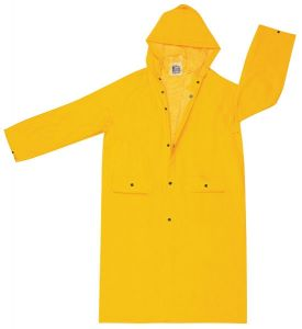 """MCR 200CH Classic .35mm PVC/Polyester 49"""" Coat  Attached Hood Snap Front Yellow"""