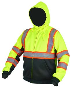 MCR S2CL3LZ Hoodie Sweatshirt, Attached Hood with Pull Stops, Class 3 Hi Viz
