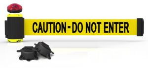 """Banner Stakes MH7003L 7' Magnetic Wall Mount Barrier with Light Kit - """"Caution - Do Not Enter"""" Banner"""
