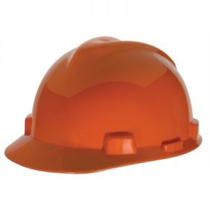 MSA Hard Hat V Gard Slotted Cap Orange  Fas Trac III Suspension (1 EA)