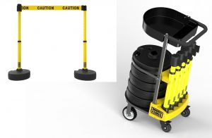 """Banner Stakes PL4001T PLUS Cart Package with Tray, Yellow """"Caution"""" Banner"""