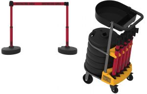 """Banner Stakes PL4010T PLUS Cart Package with Tray, Red """"Restricted Area"""" Banner"""