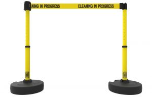 """Banner Stakes PL4288 PLUS Barrier Set X2,Yellow """"Cleaning in Progress"""""""