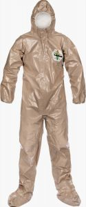 Lakeland C4T151T ChemMax 4 Plus Tan Coverall - Respirator Fit Hood/Boots 6/Case