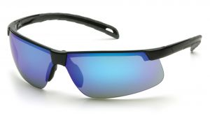 Ever-Lite Safety Glasses - Ice Blue Mirror Lens with Black Frame (Box of 12)