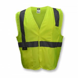 Radians SV2GS Economy Type R Class 2 Solid Material Safety Vest, Hi-Vis Yellow, 1 Each