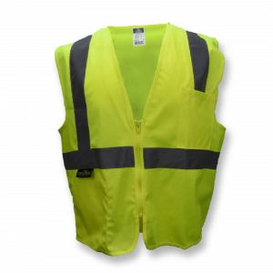 Radians SV2ZGS Economy Type R Class 2 Solid Material Safety Vest with Zipper, Hi-Vis Yellow, 1 Each