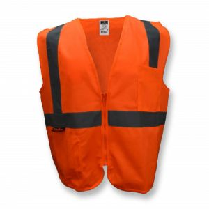 Radians SV2ZOS Economy Type R Class 2 Solid Material Safety Vest with Zipper, Hi-Vis Orange, 1 Each