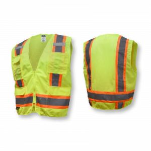 Radians SV6G Type R Class 2 Surveyor Safety Vest, Solid Front/Mesh Back with Zipper, Hi-Vis Yellow, 1 Each