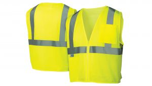 Pyramex RVZ21 Series Type R - Class 2  Safety Vests Polyester Lime Color Zipper closure - 12 / Box