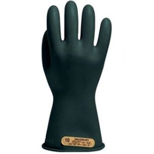 Salisbury Black  Class 00 Electrical Insulating Rubber Gloves - 11 inch  Black Color - 1 Pair