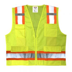Safety Main Surveyor Vest - Class 2 - Solid Front Mesh Back (1 EA)