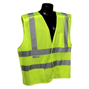 Radians Radwear SV45-2 Type R Class 2 Self Extinguishing Mesh Breakaway Hi- Vis Vest  Green Color - 1 Each