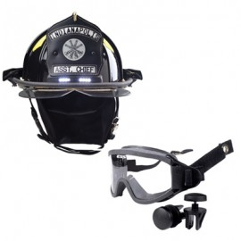 Bullard Traditional Fiberglass Fire Helmet with TrakLite Helmet Lighting System, wraparound ESS IZ3 goggle, bourke eyeshield and 6in Brass Eagle