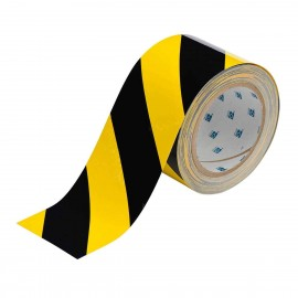 "Brady ToughStripe Floor Marking Tape Roll Polyester Diagonal Stripes Black on Yellow 3"" x 100'"