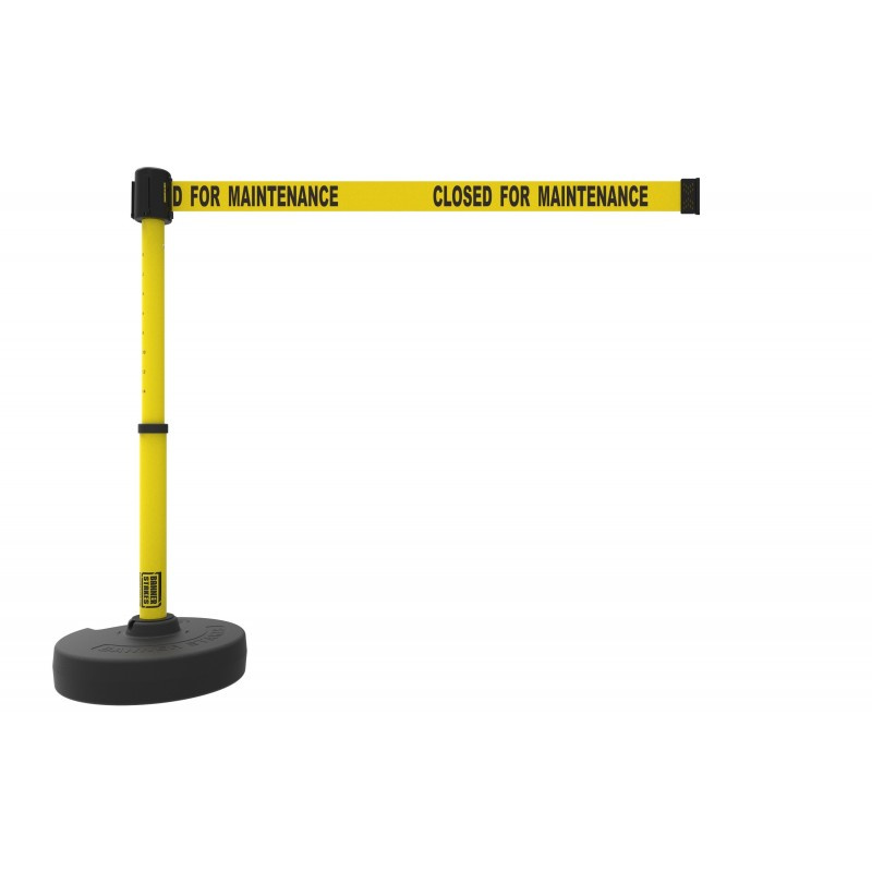"Banner Stakes PL4090 PLUS Barrier Set, Yellow ""Closed for Maintenance"""