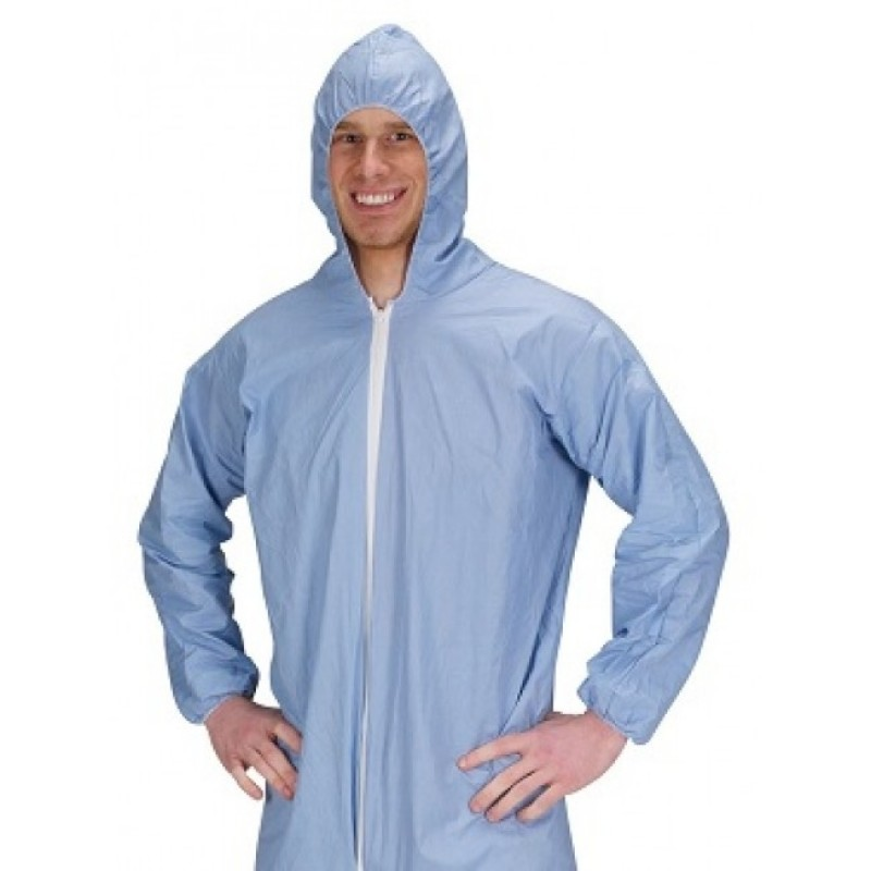 Lakeland Industries Pyrolon Plus 2, 07414B Blue Disposable Coveralls with Attached Hood, Boots and Elastic Wrists (25 Per Case)