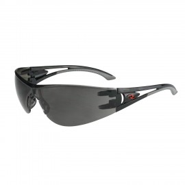 Radians Optima - Smoke Lens Safety Glasses Frameless Style Black Color - 12 Pairs / Box