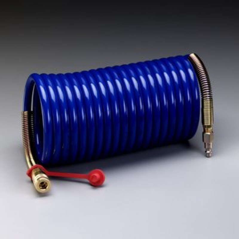 3M™ Supplied Air Hose W-2929-50, 50 ft, 3/8 in ID, Industrial Interchange Fittings, High Pressure, Coiled