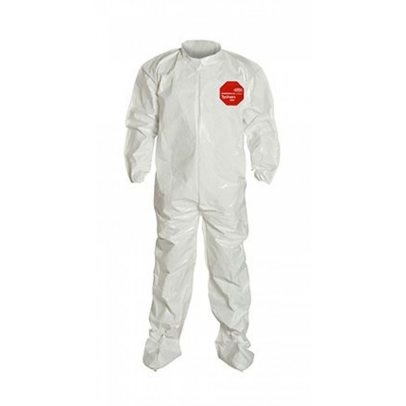 DuPont™ Tychem® 4000 SL121T WH  Coverall. Collar. Elastic Wrists. Attached Socks 4/Case