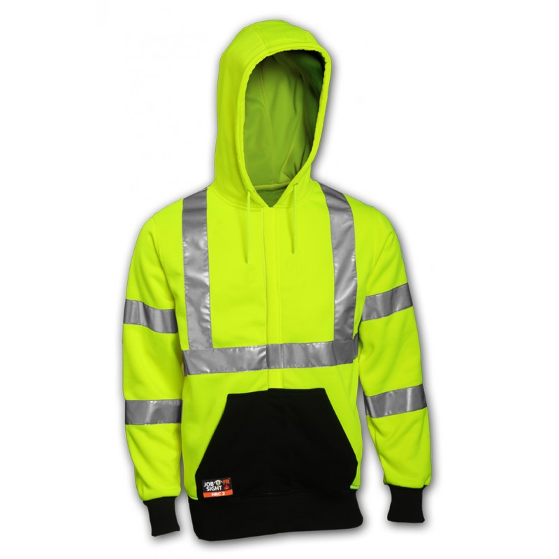 Tingley S88122.SM Class 3 FR Sweatshirt Fluorescent Yellow-Green Hooded