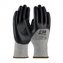 PIP 16-355/M G-Tek Seamless Knit PolyKor Blended Glove with Nitrile Coated Foam Grip on Palm, Fingers & Knuckles Medium 6 DZ